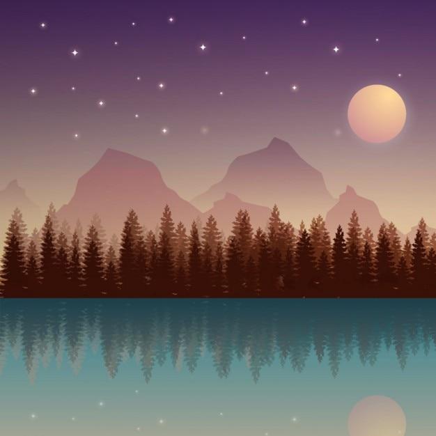 月と山と夜間自然の風景 無料ベクター