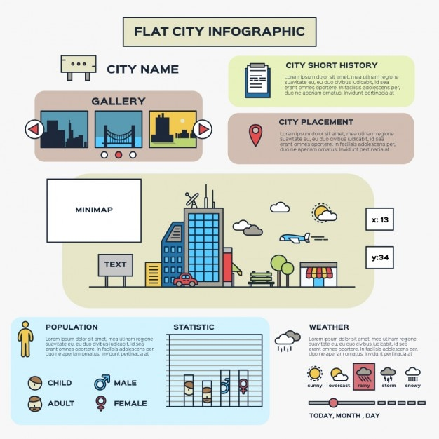 Плоский город инфографики Бесплатные векторы
