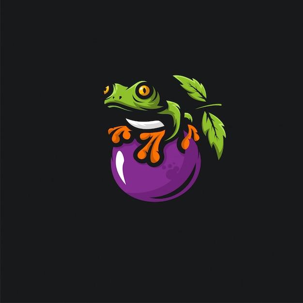 Зеленая лягушка и фрукты иллюстрация Premium векторы