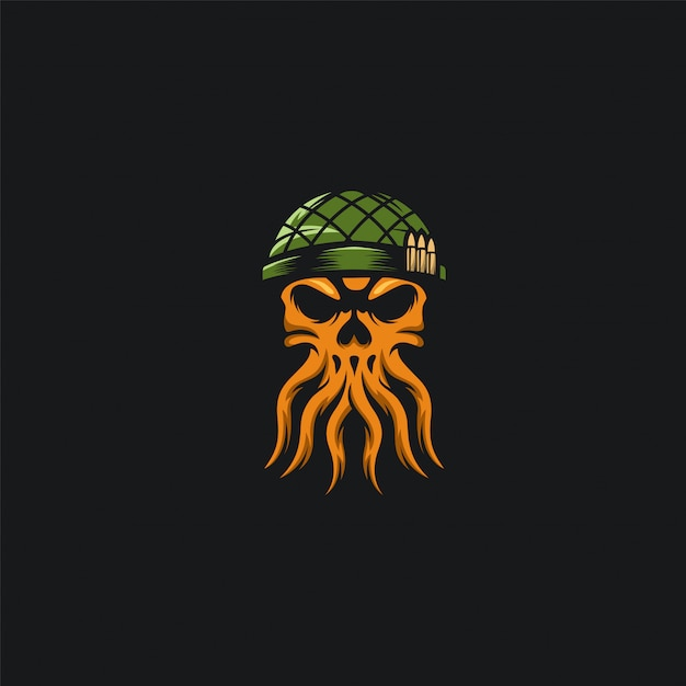 Осьминог череп дизайн армии иллюстрационная Premium векторы