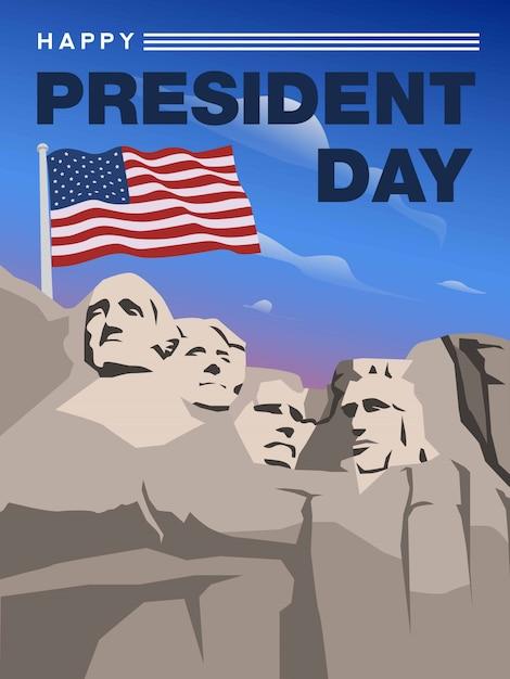 ラシュモア山からの幸せなアメリカ大統領の日 Premiumベクター