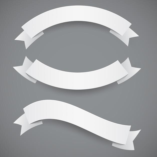 Набор белой бумаги волнистые ленты или флаги Premium векторы