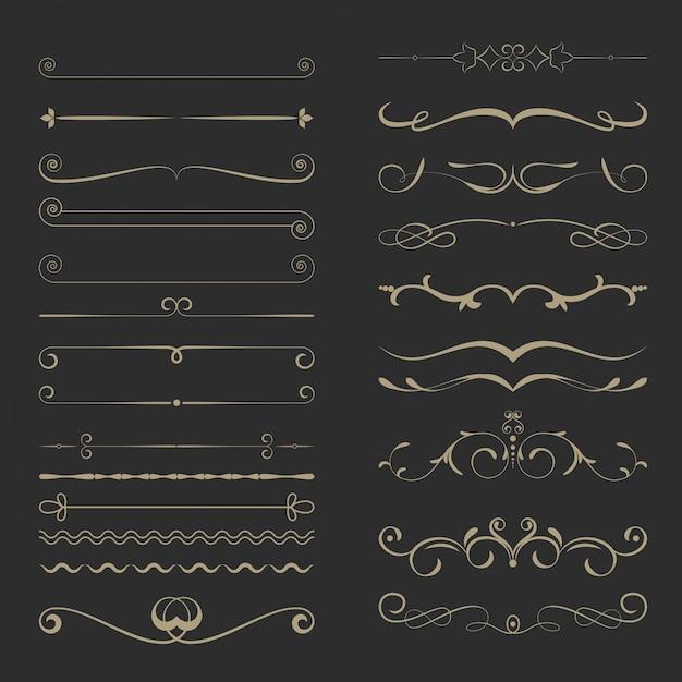 Набор старинных каллиграфических разделителей страниц Premium векторы