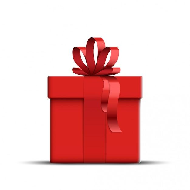 Реалистичная красная подарочная коробка Premium векторы