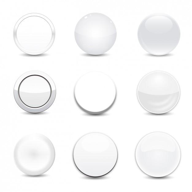 ホワイト丸いボタンのセット 無料ベクター