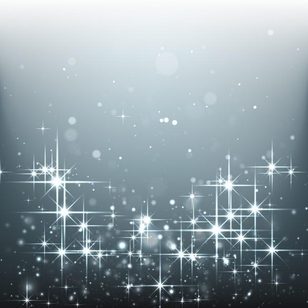 銀の背景に明るい星 無料ベクター