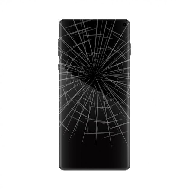 ひびの入った画面を持つ携帯電話 Premiumベクター