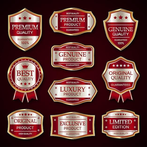 赤と銀のプレミアムビンテージバッジとラベルのコレクション Premiumベクター
