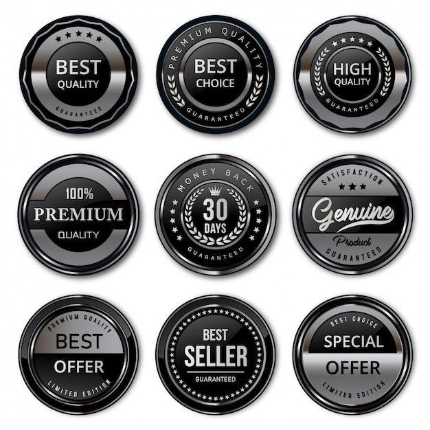 高級ブラックとシルバーのプレミアム品質のバッジとラベル Premiumベクター