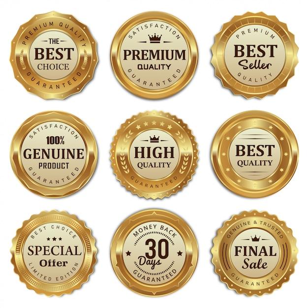 ゴールデンバッジとラベルの高品質な製品のコレクション Premiumベクター