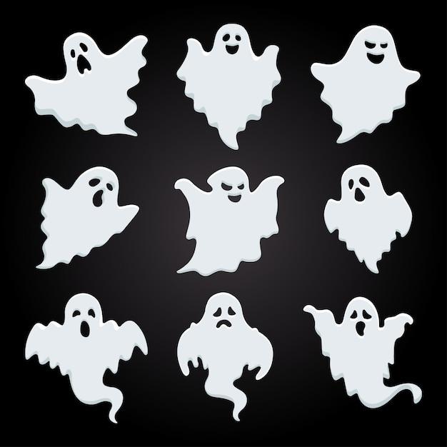 Белая тень коллекции призраков хэллоуина Premium векторы