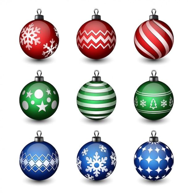 現実的なクリスマスボールのコレクション Premiumベクター