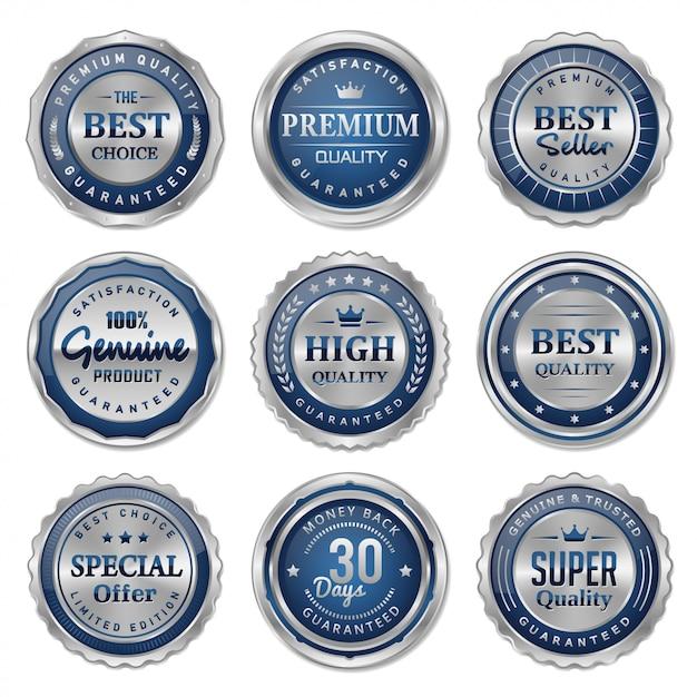 青と銀の金属製バッジとラベルのコレクション Premiumベクター