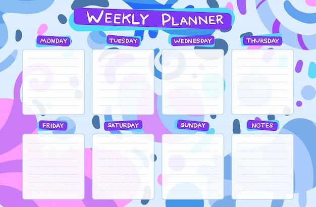 毎週のカレンダープランナー。計画タスク Premiumベクター