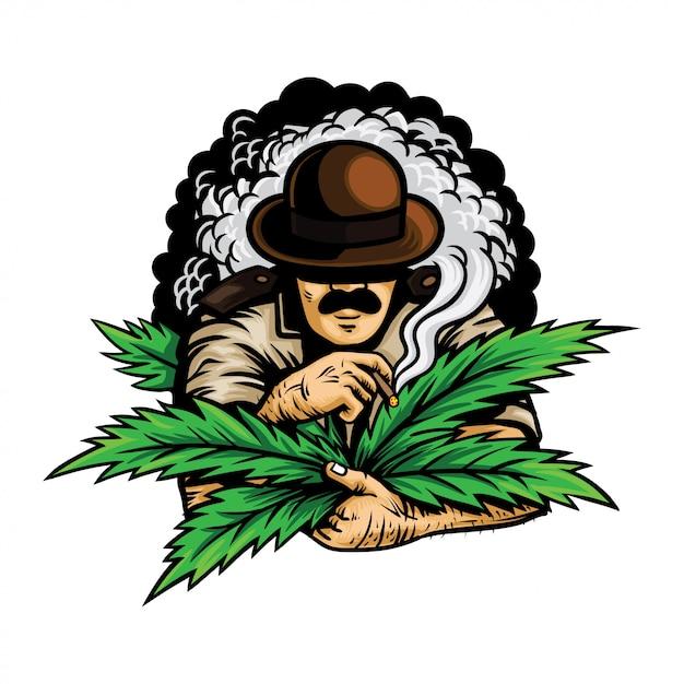 Офицер с марихуаной Premium векторы