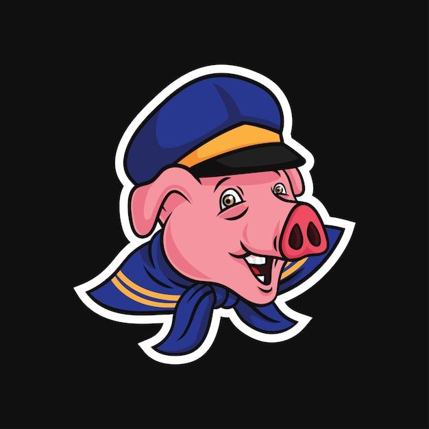 Персонаж свиньи моряка Premium векторы