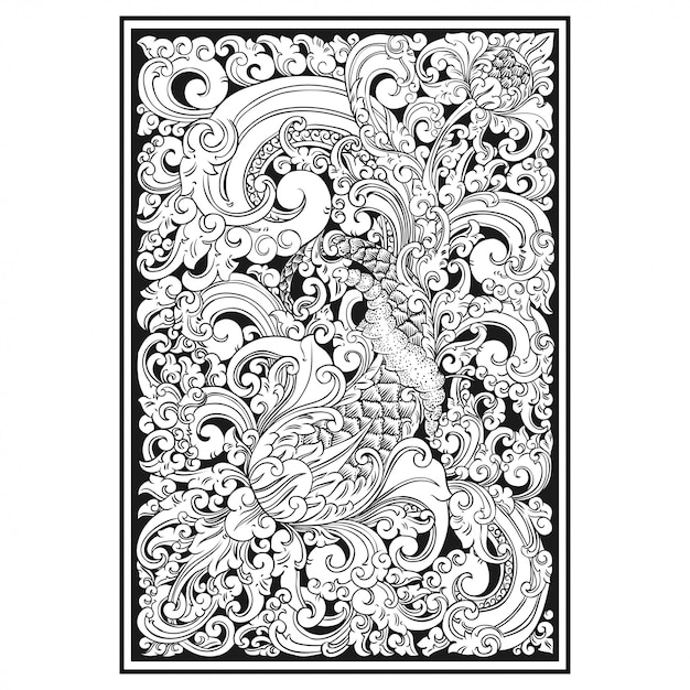 透かし彫りパターン。インドネシアモチーフ Premiumベクター
