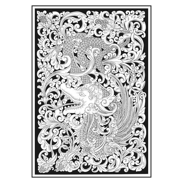 透かし彫りパターン。インドネシアのモチーフ。ドラゴンイラスト。 Premiumベクター