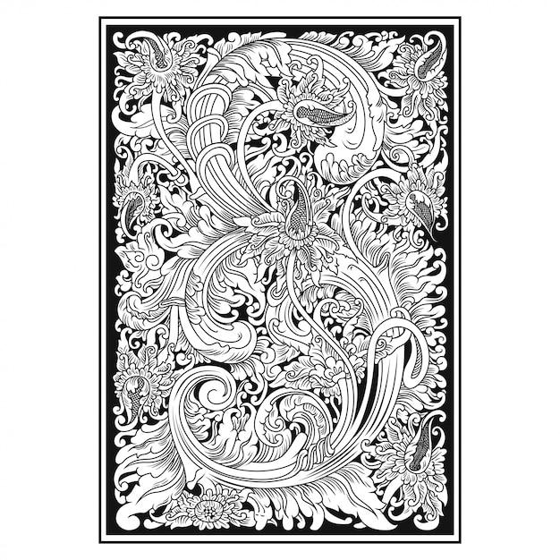 透かし彫りパターン。インドネシアのモチーフ。花のイラスト。 Premiumベクター