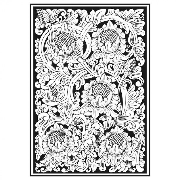 花の彫刻 Premiumベクター