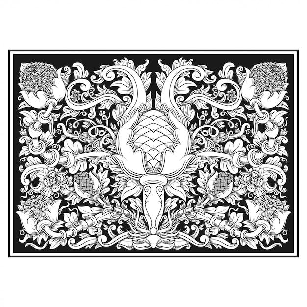 彫刻透かし模様の花のイラスト。インドネシアのモチーフ。 Premiumベクター