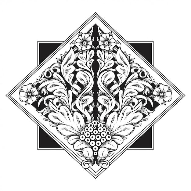 彫刻透かし模様のイラスト。インドネシアのモチーフ。フレームの花。 Premiumベクター