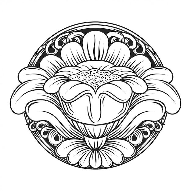 透かし彫りの花 Premiumベクター