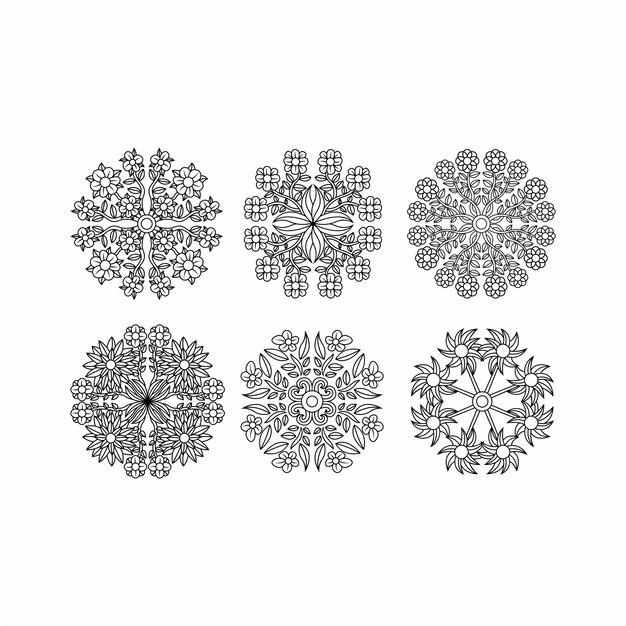 スパイログラフ要素セット、葉の概念 Premiumベクター