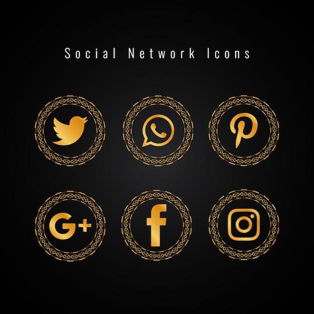 抽象的な黄金のソーシャルメディアアイコンが設定 無料ベクター