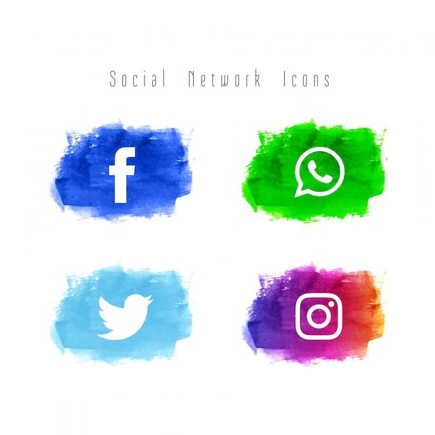 抽象的なソーシャルネットワークの水彩アイコンセット 無料ベクター