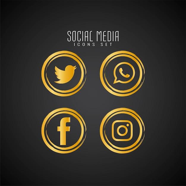 抽象的なソーシャルメディアのアイコンを設定 無料ベクター