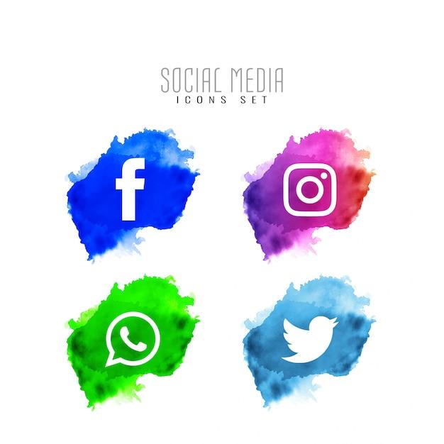 現代のソーシャルメディアのアイコンデザインセット 無料ベクター