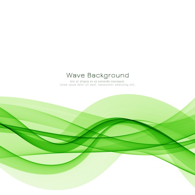 エレガントなグリーンウェーブモダンな背景デザイン 無料ベクター
