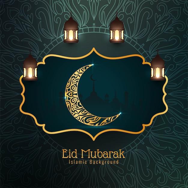 Ид мубарак фестиваль декоративного исламского фона Бесплатные векторы