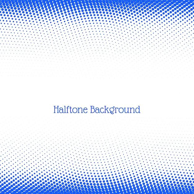 モダンなブルーのハーフトーンの背景 無料ベクター