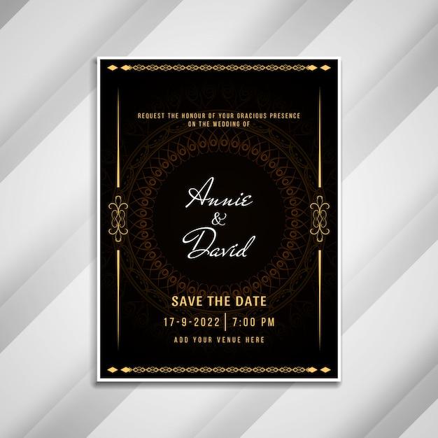 Абстрактное свадебное приглашение элегантная открытка Бесплатные векторы