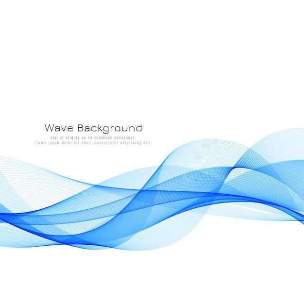 美しい青い波背景 無料ベクター
