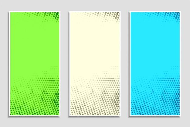 抽象的なカラフルなハーフトーンバナーセット 無料ベクター