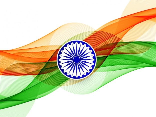 Стильный волнистый индийский флаг тема фон Бесплатные векторы