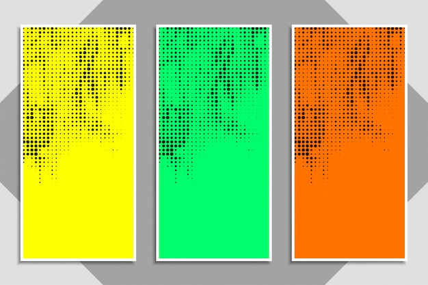 抽象的な現代的なカラフルなハーフトーンバナーセット 無料ベクター