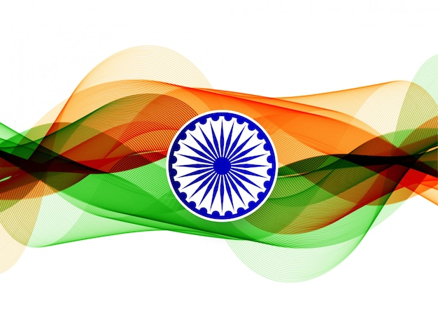 モダンでエレガントな波状のインドの旗の背景 無料ベクター