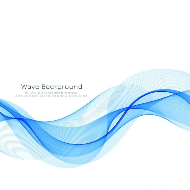 背景を流れる抽象的な青い波 無料ベクター