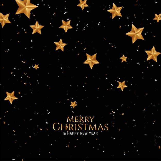 金色の星とメリークリスマスの美しいカード 無料ベクター