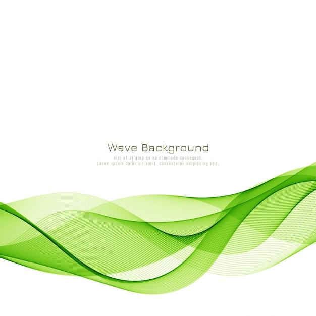 モダンなスタイリッシュな緑波背景 無料ベクター