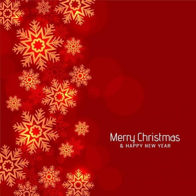 Современный красный цвет с рождеством снежинки фон Бесплатные векторы