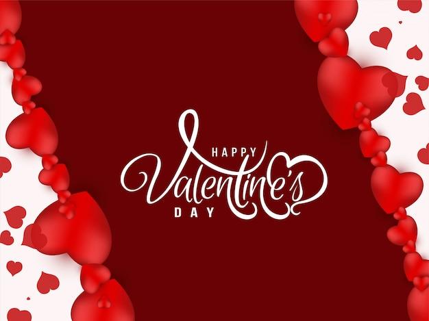 С днем святого валентина приветствие дизайн фона Бесплатные векторы