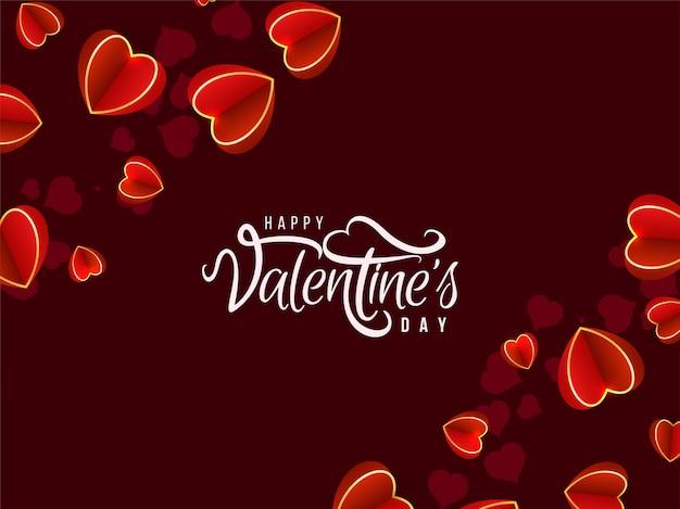 バレンタインデーの心と素敵な背景 無料ベクター