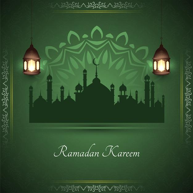 モスクとラマダンカリームスタイリッシュなグリーティングカード 無料ベクター