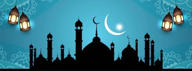 イスラムイードムバラクエレガントな美しいバナーデザイン 無料ベクター