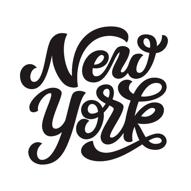 Нью-йорк. ручной обращается текст надписи Premium векторы
